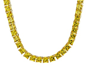 Bella Luce® 46.17ctw Yellow Diamond Simulant 18k Gold Over Silver Necklace