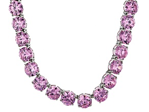 Bella Luce® 214.13ctw Round Pink Diamond Simulant Rhodium Over Silver Necklace