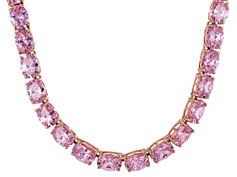 Bella Luce® 96.66ctw Oval Pink Diamond Simulant 18k Gold Over Silver Necklace