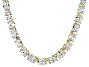 Bella Luce® 96.66ctw Oval Diamond Simulant 18k Gold Over Silver Necklace