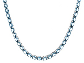 Bella Luce® 19.86ctw Oval Apatite Simulant Rhodium Over Silver Tennis Necklace