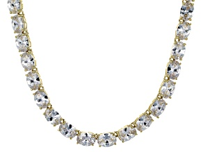 Bella Luce® 60.80ctw Oval Diamond Simulant 18k Gold Over Silver Necklace