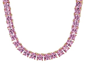 Bella Luce® 112.48ctw Pink Diamond Simulant 18k Gold Over Silver Necklace