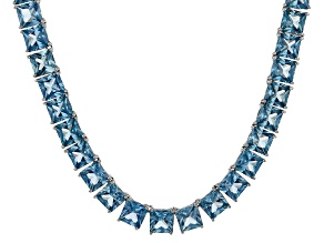 Bella Luce® 104.74ctw Princess Apatite Simulant Rhodium Over Silver Necklace