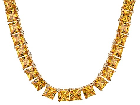 Bella Luce® 112.48ctw Yellow Diamond Simulant 18k Gold Over Silver Necklace