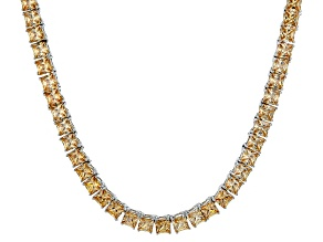 Bella Luce® 46.17ctw Champagne Diamond Simulant Rhodium Over Silver Necklace