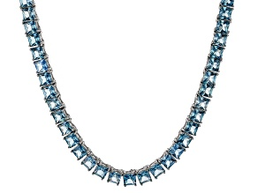 Bella Luce® 40.01ctw Princess Apatite Simulant Rhodium Over Silver Necklace