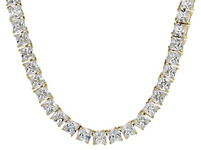 Bella Luce® 46.17ctw Princess Diamond Simulant 18k Gold Over Silver Necklace