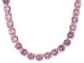 Bella Luce® 126.64ctw Pink Diamond Simulant 18k Gold Over Silver Necklace