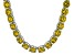 Bella Luce® 174.42ctw Yellow Diamond Simulant Rhodium Over Silver Necklace