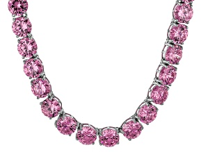 Bella Luce® 174.42ctw Round Pink Diamond Simulant Rhodium Over Silver Necklace