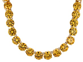 Bella Luce® 214.13ctw Yellow Diamond Simulant 18k Gold Over Silver Necklace