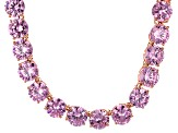 Bella Luce® 214.13ctw Pink Diamond Simulant 18k Rose Gold Over Silver Necklace