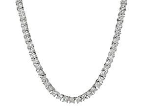 Bella Luce® 30.81ctw Diamond Simulant Rhodium Over Silver Tennis Necklace