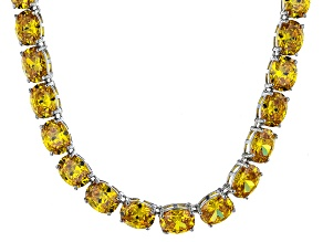Bella Luce® 139.65ctw Yellow Diamond Simulant Rhodium Over Silver Necklace