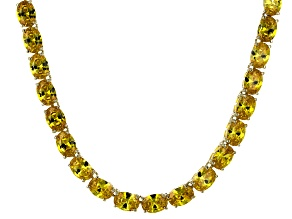 Bella Luce® 60.80ctw Yellow Diamond Simulant 18k Gold Over Silver Necklace