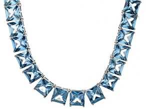 Bella Luce® 111.72ctw Princess Apatite Simulant Rhodium Over Silver Necklace