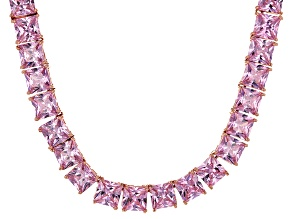 Bella Luce® 134.66ctw Pink Diamond Simulant 18k Rose Gold Over Silver Necklace