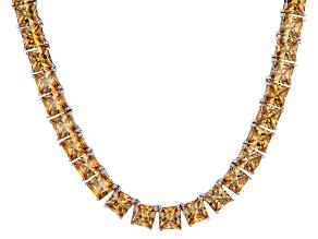 Bella Luce® 134.66ctw Champagne Diamond Simulant Rhodium Over Silver Necklace
