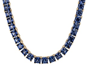 Bella Luce® 77.62ctw Princess Tanzanite Simulant 18k Gold Over Silver Necklace
