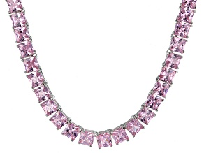 Bella Luce® 77.62ctw Pink Diamond Simulant Rhodium Over Silver Necklace