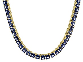 Bella Luce® 30.81ctw Princess Tanzanite Simulant 18k Gold Over Silver Necklace