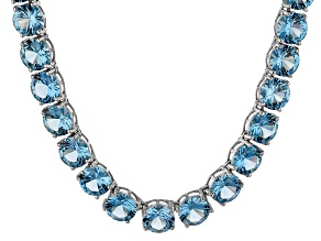 Bella Luce® 71.82ctw Apatite Simulant Rhodium Over Silver Tennis Necklace
