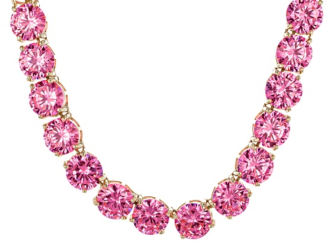 Bella Luce® 214.13ctw Pink Diamond Simulant 18k Gold Over Silver Necklace