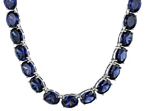 Bella Luce® 139.65ctw Oval Tanzanite Simulant Rhodium Over Silver Necklace