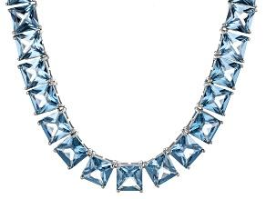 Bella Luce® 117.56ctw Princess Apatite Simulant Rhodium Over Silver Necklace
