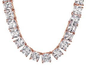 Bella Luce® 256.03ctw Princess Diamond Simulant 18k Gold Over Silver Necklace