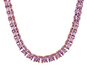 Bella Luce® 112.48ctw Pink Diamond Simulant 18k Rose Gold Over Silver Necklace
