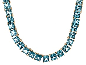Bella Luce® 80.85ctw Princess Apatite Simulant 18k Gold Over Silver Necklace