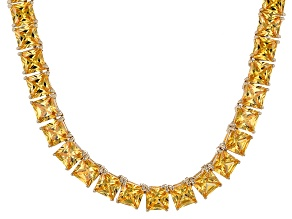 Bella Luce® 77.62ctw Yellow Diamond Simulant 18k Gold Over Silver Necklace