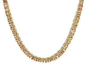 Bella Luce® 30.81ctw Champagne Diamond Simulant 18k Gold Over Silver Necklace