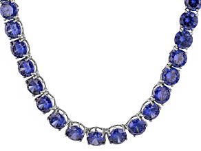 Bella Luce® 174.42ctw Tanzanite Simulant Rhodium Over Silver Tennis Necklace