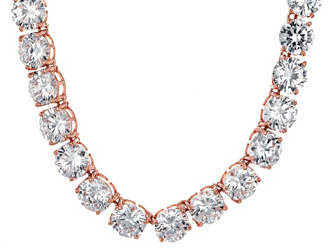 Bella Luce® 214.13ctw Round Diamond Simulant 18k Gold Over Silver Necklace