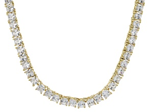 Bella Luce® 30.81ctw Princess Diamond Simulant 18k Gold Over Silver Necklace