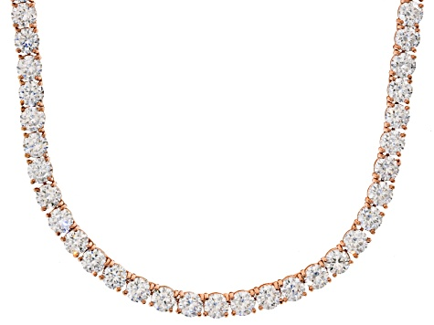 Bella Luce® 90.28ctw Round Diamond Simulant 18k Rose Gold Over Silver Necklace