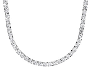 Bella Luce® 90.28ctw Round Diamond Simulant Rhodium Over Silver Tennis Necklace