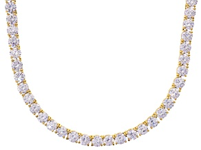 Bella Luce® 90.28ctw Round Diamond Simulant 18k Gold Over Silver Necklace