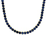 Bella Luce® 90.28ctw Round Tanzanite Simulant 18k Gold Over Silver Necklace
