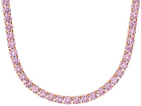 Bella Luce® 90.28ctw Round Pink Diamond Simulant 18k Gold Over Silver Necklace