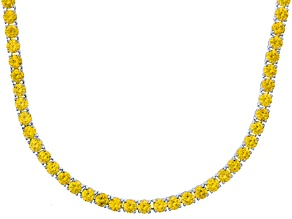 Bella Luce® 61.77ctw Round Yellow Diamond Simulant Rhodium Over Silver Necklace