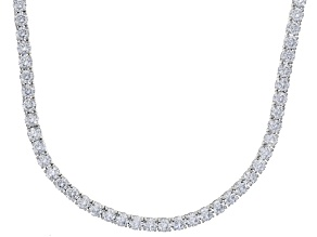 Bella Luce® 61.77ctw Round Diamond Simulant Rhodium Over Silver Tennis Necklace