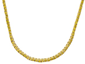 Bella Luce® 20.02ctw Yellow Diamond Simulant 18k Gold Over Silver Necklace