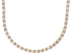 Bella Luce® 46.72ctw Oval Diamond Simulant 18k Yellow Gold Over Silver Necklace