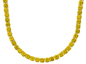 Bella Luce® 90.28ctw Yellow Diamond Simulant 18k Gold Over Silver Necklace