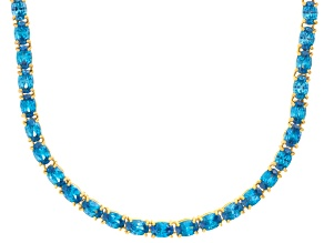 Bella Luce® 46.72ctw Oval Apatite Simulant 18k Yellow Gold Over Silver Necklace