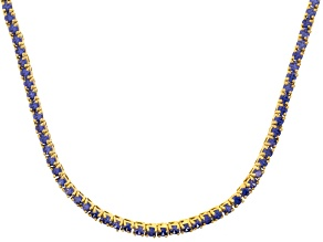 Bella Luce® 20.02ctw Round Tanzanite Simulant 18k Gold Over Silver Necklace